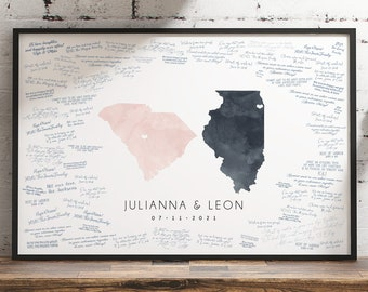 Wedding Guest Book Alternative > blush & gray watercolor guestbook map, custom state map guest book (South Carolina and Illinois shown)