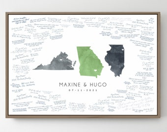 Wedding Guest Book Alternative > custom guestbook canvas with 3 states, green and gray watercolor state map (Virginia, Georgia, Illinois)