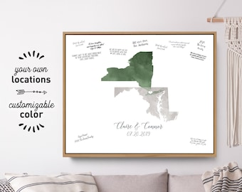 Wedding Guest Book Alternative > Green & gray states map guestbook, Watercolor guest book map