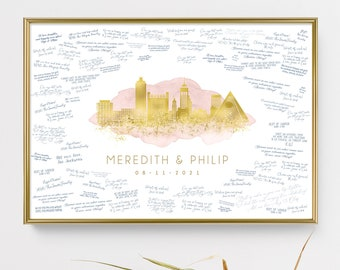 Memphis skyline wedding guest book alternative •  Custom city guestbook •Faux metallic gold & dusty pink watercolor, Tennessee wall art