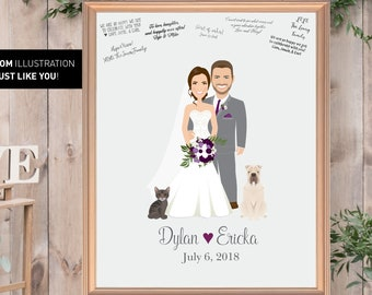 Rustic Wedding Guest Book Alternative, Custom Illustration Cartoon Portrait, Guestbook Canvas, Portrait with Pets
