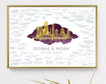 Personalized skyline wedding guest book alternative •  Des Moines wall art gift •Custom city guestbook •Faux gold & purple watercolor