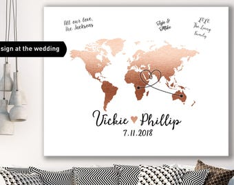 World Map Guest Book Alternative / Wedding Map / Faux Metallic Rose Gold Map Guestbook / Guest Sign In ▷ Canvas, Paper, Board or Printable