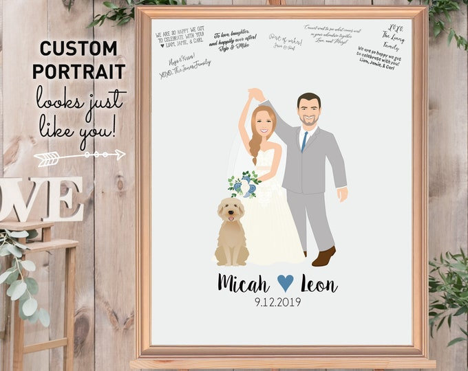 Portrait Guest Book Alternative Canvas, Custom Portrait Wedding Sign In, Personalized Wedding Guestbook Canvas