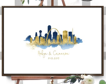 Wedding Guest Book Alternative Sign > St Louis & Dallas skyline guestbook • Navy watercolor and faux metallic gold • Canvas sign for wedding