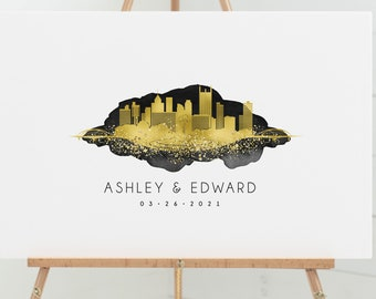 Guest Book Alternative canvas > Pittsburgh wedding guestbook with skyline art, large black and gold wall art, faux metallic and watercolor