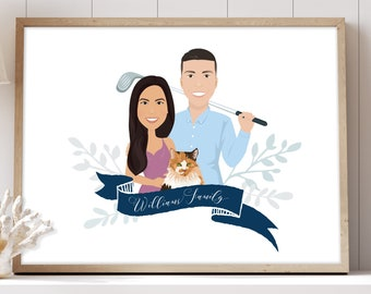 Custom portrait drawing > Family portrait illustration with calico cat cartoon, Golf gift idea for husband, Paper anniversary gift