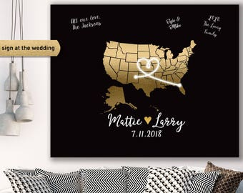 Art Deco Guest Book Alternative / Great Gatsby Wedding / Faux Metallic Gold Guestbook Map / Black & Gold ▷ Canvas, Paper, Board or Printable