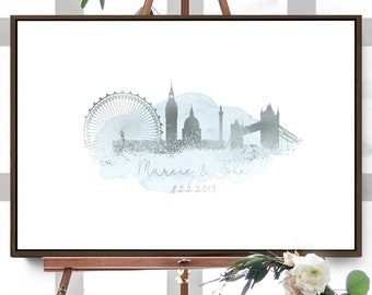 Wedding Guest Book Alternative > London skyline guestbook, Dusty Blue watercolor and faux metallic silver print, Canvas sign for wedding