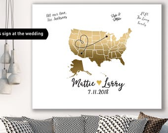 United States Guest Book Alternative / Wedding Map / Faux Metallic Gold Map Guestbook / Guest Sign In ▷ Canvas, Paper, Board or Printable