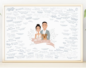 Wedding Guest Book Alternative Sign > Personalized portrait with pet cartoon, Custom couple drawing from photos, Yorkie parents gift idea