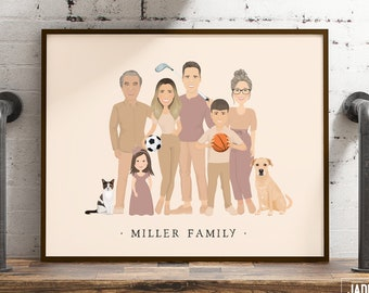 Custom family portrait with children and grandparents > Personalized extended family drawing from photos, Boho illustration in earth tones