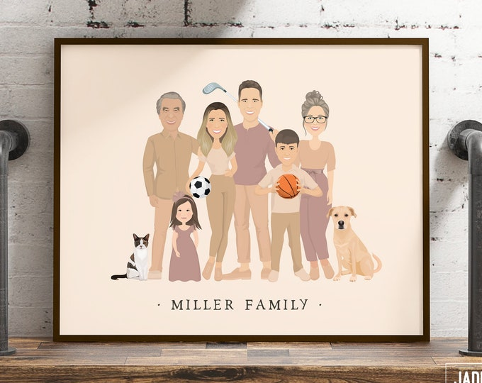 Featured listing image: Custom family portrait with children and grandparents > Personalized extended family drawing from photos, Boho illustration in earth tones