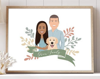 Couple portrait illustration > Custom family drawing with faces, Personalized portrait with golden retriever dog, Large framed portrait