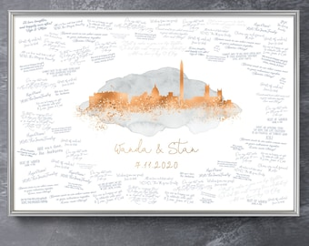 Wedding Guest Book Alternative > Washington DC skyline sign, Gray watercolor and faux metallic copper print, Wedding guestbook canvas