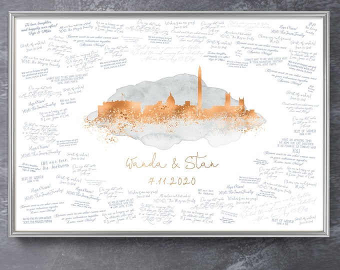 Featured listing image: Wedding Guest Book Alternative > Washington DC skyline sign, Gray watercolor and faux metallic copper print, Wedding guestbook canvas