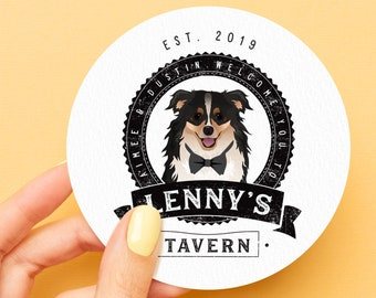 Dog of Honor Bar Coaster > Custom Pet Portrait Drawing on Drink Coasters, Personalized Wedding Favor Idea