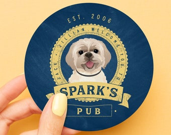 Custom Dog Portrait Coaster > Personalized Shih Tzu Cartoon Drawing on Drink Coaster, Unique Wedding Favor Idea