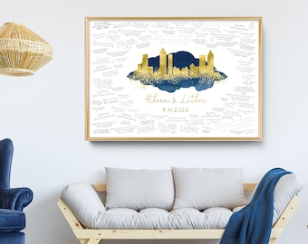 Alternative Guest Book for Wedding > Navy watercolor and faux metallic gold Atlanta skyline print, Canvas wedding guestbook sign