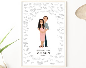 Baby shower guest book alternative. Custom portrait of parents to be. Personalized illustration from photos. Dusty pink baby shower decor.
