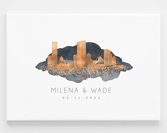 Milwaukee wedding guest book alternative •  Custom skyline wall art gift •Personalized city guestbook •Faux copper & dark gray watercolor