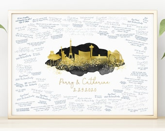 Wedding Guest Book Alternative > Las Vegas skyline sign, Faux metallic gold and black watercolor art print, Wedding guestbook canvas