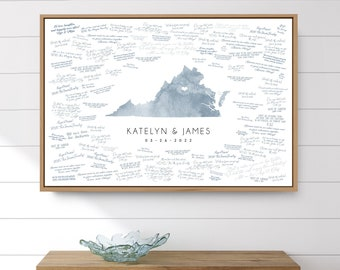 Wedding GUESTBOOK alternative > Virginia state map guest book for Charlottesville wedding, Dusty blue watercolor art
