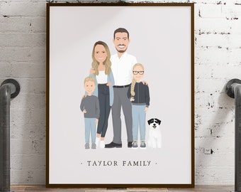 Family portrait of couple with kids > Personalized parents and children illustration, Custom family gift idea, Neutral boho cartoon drawing