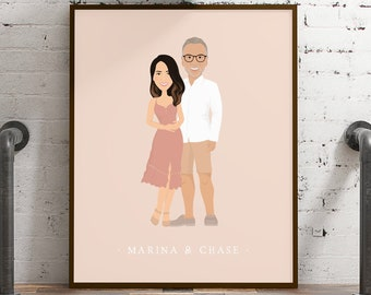 Engagement portrait cartoon art > Custom drawing from photo with boho blush background, Large canvas illustration of couple