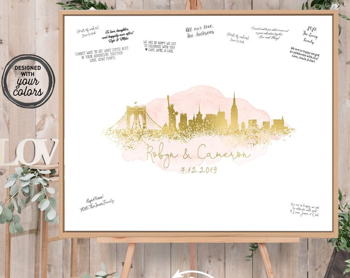 Wedding Guest Book Alternative > New York City skyline guestbook, Blush watercolor and faux metallic gold print, Canvas sign for wedding