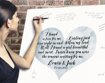Wedding Guest Book Alternative > Wedding Song Lyrics on Dusty Blue Watercolor Heart, Boho Calligraphy Canvas Guestbook Sign