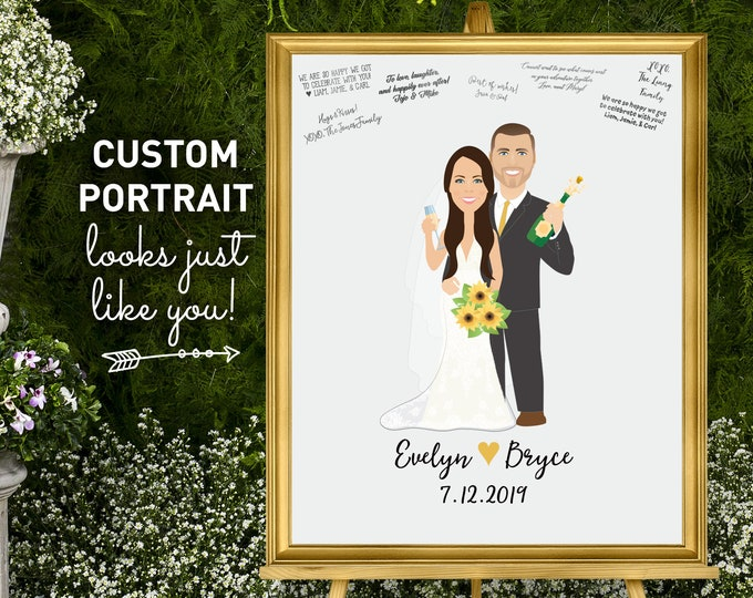 Wedding guest book alternative • Custom couple portrait, Champagne toast wedding sign in, Popping bubbly, Sunflower guest book canvas print