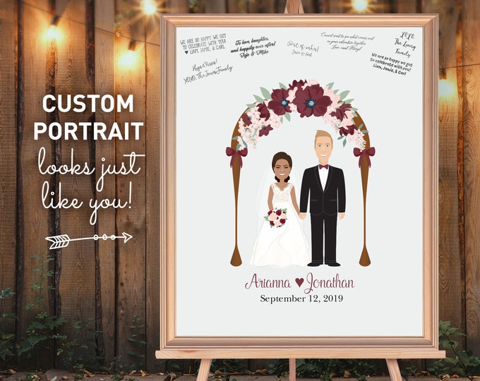 Rustic wedding guest book alternative • Custom portrait gift for couple, Marsala and blush floral arch, Fall wedding sign in guestbook print