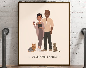 Family portrait with pets and hobbies > Custom illustration from photo with neutral beige and mauve colors, Large framed drawing of couple