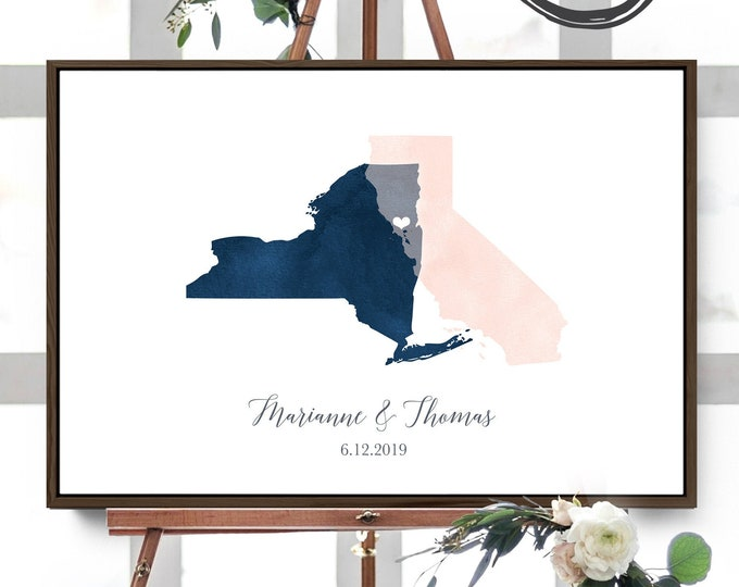 Wedding Guest Book Alternative > Navy & blush watercolor guest book map, Custom state or country map guestbook