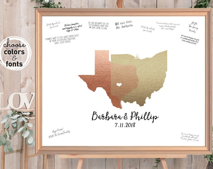Guest Book Alternative, State Guestbook, Faux Gold and Rose Gold Wedding Map, Personalized Wedding Sign In