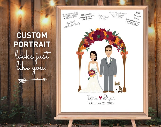 Rustic Guest Book Alternative, Custom Wedding Portrait from Photo, Burgundy Floral Arch for Fall Wedding