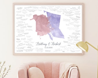 Lavender Wedding Guest Book Alternative > Mauve Pink and Purple Watercolor Guestbook (Custom Map of Countries, States, or Provinces)