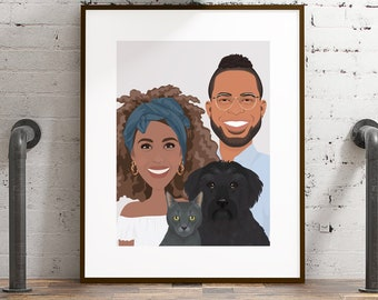 Family portrait canvas. Custom portrait with pets. Tabby cat & black dog illustration. Boho wall art drawing. Personalized engagement gift.