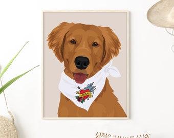 Golden Retriever Mom gift • Custom portrait from photo for dog mom •Personalized pet with retro Mom tattoo bandana •Pet adoption gift
