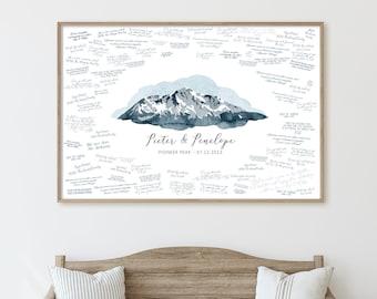Wedding GUESTBOOK alternative • Pioneer Peak mountain guest book canvas • Alaska wedding idea • Indigo blue digital watercolor art {oio}