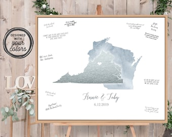 Wedding Guest Book Alternative > Dusty blue watercolor & faux metallic silver guestbook canvas, State or country map guest book