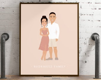 Custom portrait illustration > Trendy earthy drawing from photo with neutral blush background, Large framed family drawing with faces