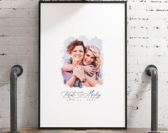 Photo Guest Book Alternative > watercolor wedding portrait from photo, large framed guest book canvas, custom painting portrait