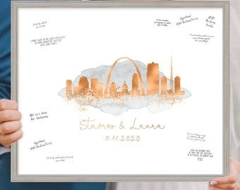 Wedding Guest Book Alternative > Saint Louis skyline print, Faux metallic copper and gray watercolor canvas, Wedding guestbook sign