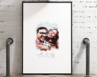 Wedding Guest Book Alternative > faux watercolor portrait from photo, large framed guest book canvas, custom digital painting portrait {wcg}