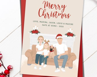 Custom portrait holiday cards > Personalized family illustration on couch with Christmas decor. Funny festive quarantine art in cozy colors.