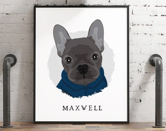 French Bulldog portrait • Personalized gift for Frenchie mom •Custom dog drawing cartoon with jacket •Large framed pet portrait from photo