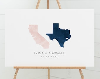 Wedding Guestbook Alternative > navy & blush watercolor guest book canvas, personalized state map guestbook (California and Texas shown)