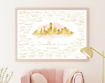 Wedding Guest Book Canvas > Dallas skyline print, Blush watercolor and faux metallic gold poster, Wedding guestbook alternative sign